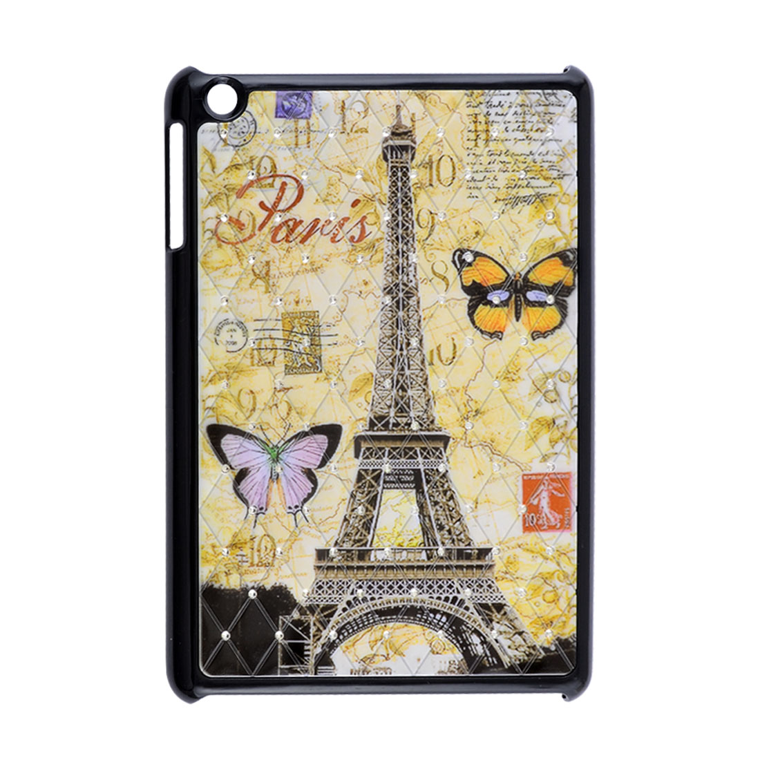 Eiffel Tower Butterfly Rhinestone Beige Black Hard Back Case for Apple iPad Mini