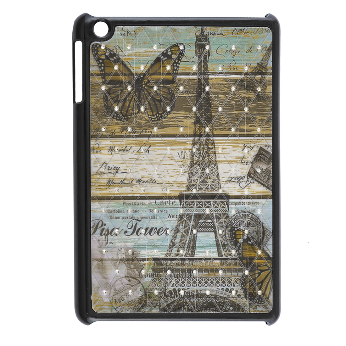 Eiffel Tower Butterfly Postmark Rhinestone Black Hard Back Case for iPad Mini