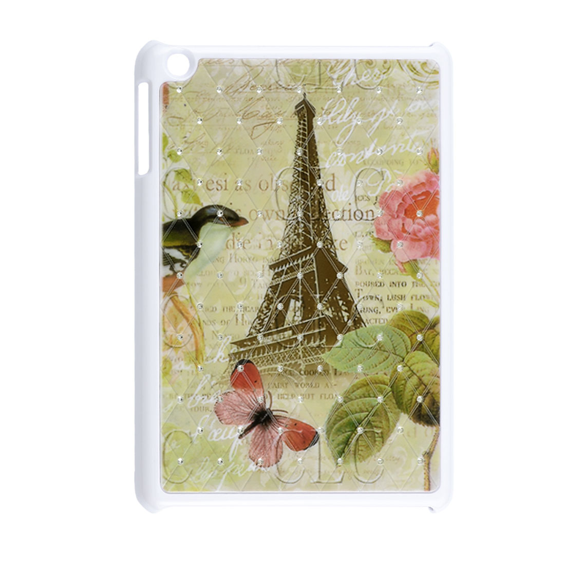 Eiffel Tower Flower Bird Rhinestone Pale Green White Hard Back Case for iPad Mini