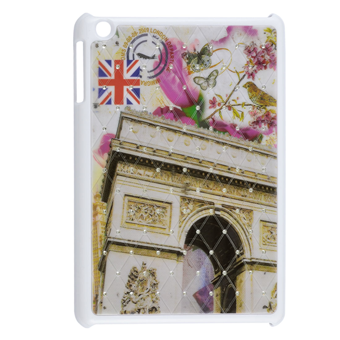 Triumphal Arch British Flag Flower Rhinestone Beige White Hard Back Case for iPad Mini