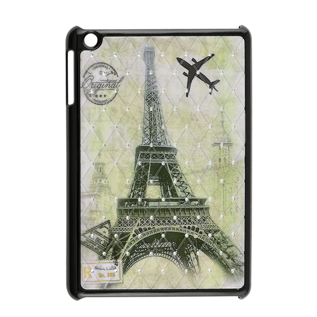 Eiffel Tower Plane Postmark Prints Rhinestone Pale Green Black Hard Back Case for iPad Mini