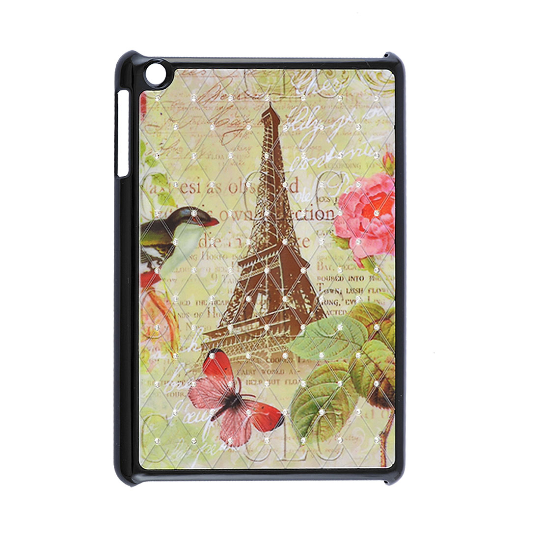 Eiffel Tower Flower Bird Pattern Rhinestone Black Hard Back Case for iPad Mini