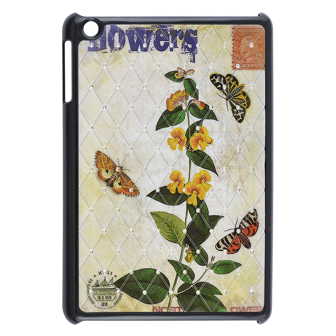 Butterfly Flowering Branch Shiny Rhinestone Black Hard Back Case for iPad Mini