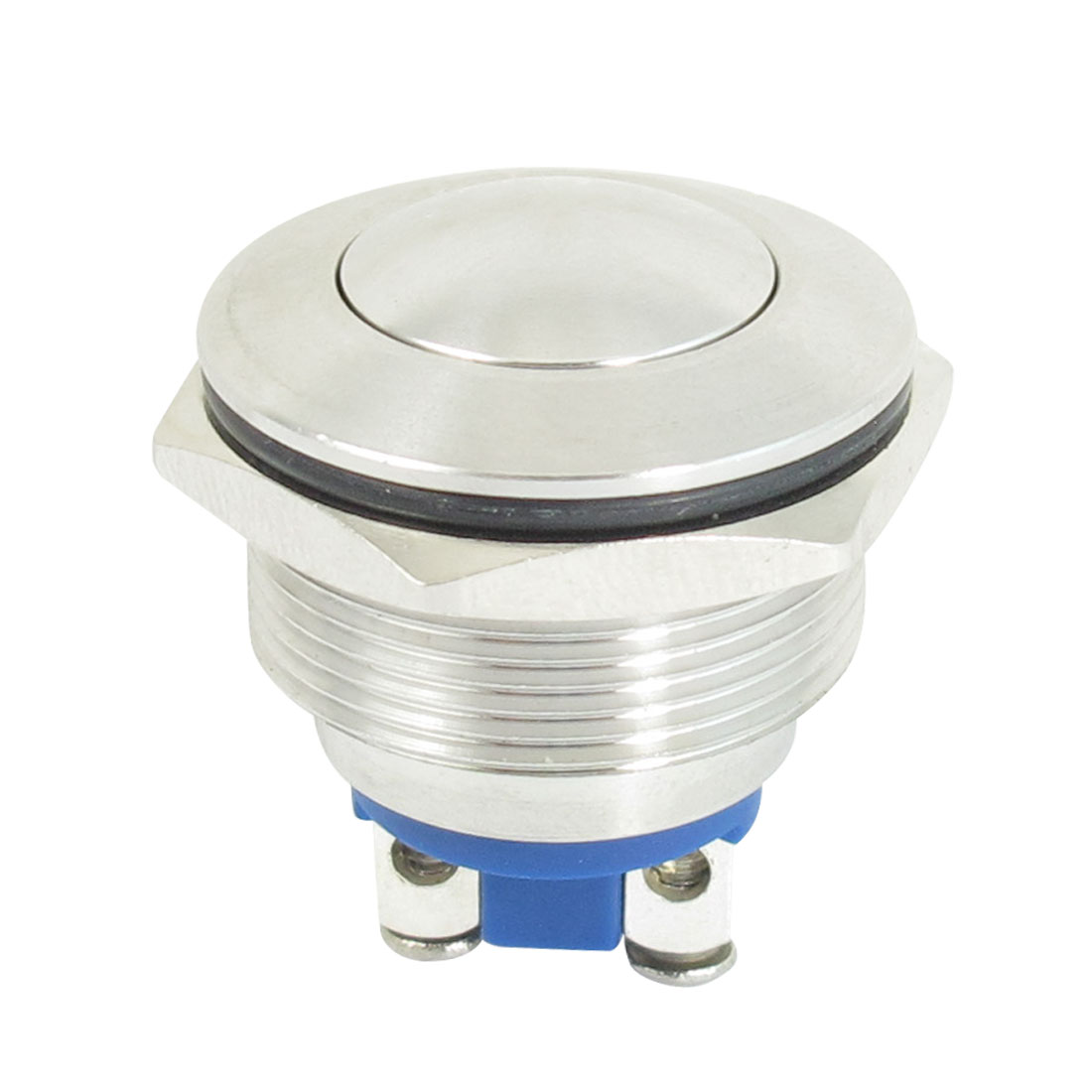 22mm Flush Mounted Momentary SPST Silver Tone Stainless Round Push Button Switch