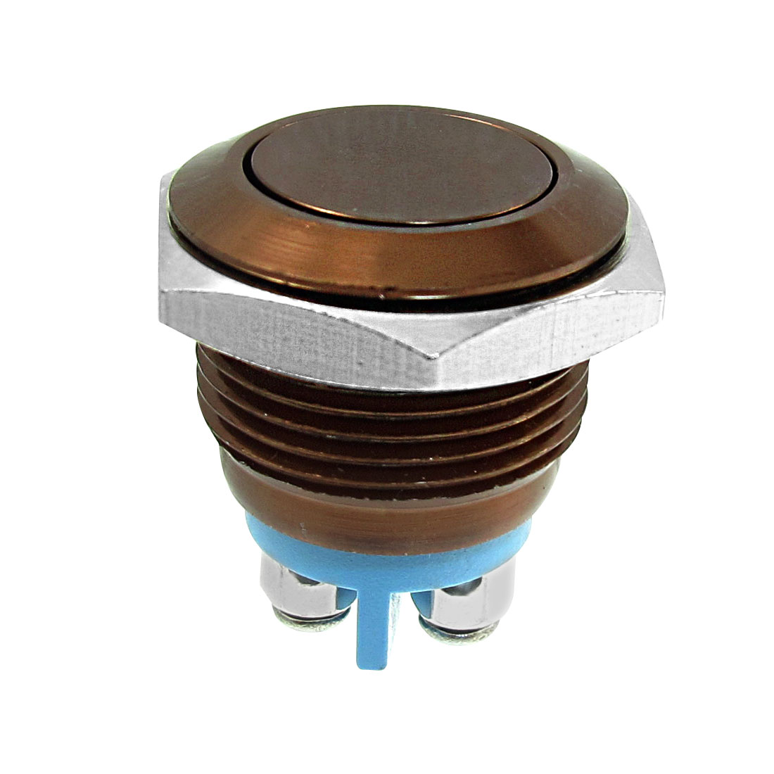 Metal Momentary Push Button Switch Brown 16mm Threaded Dia SPST ON/OFF
