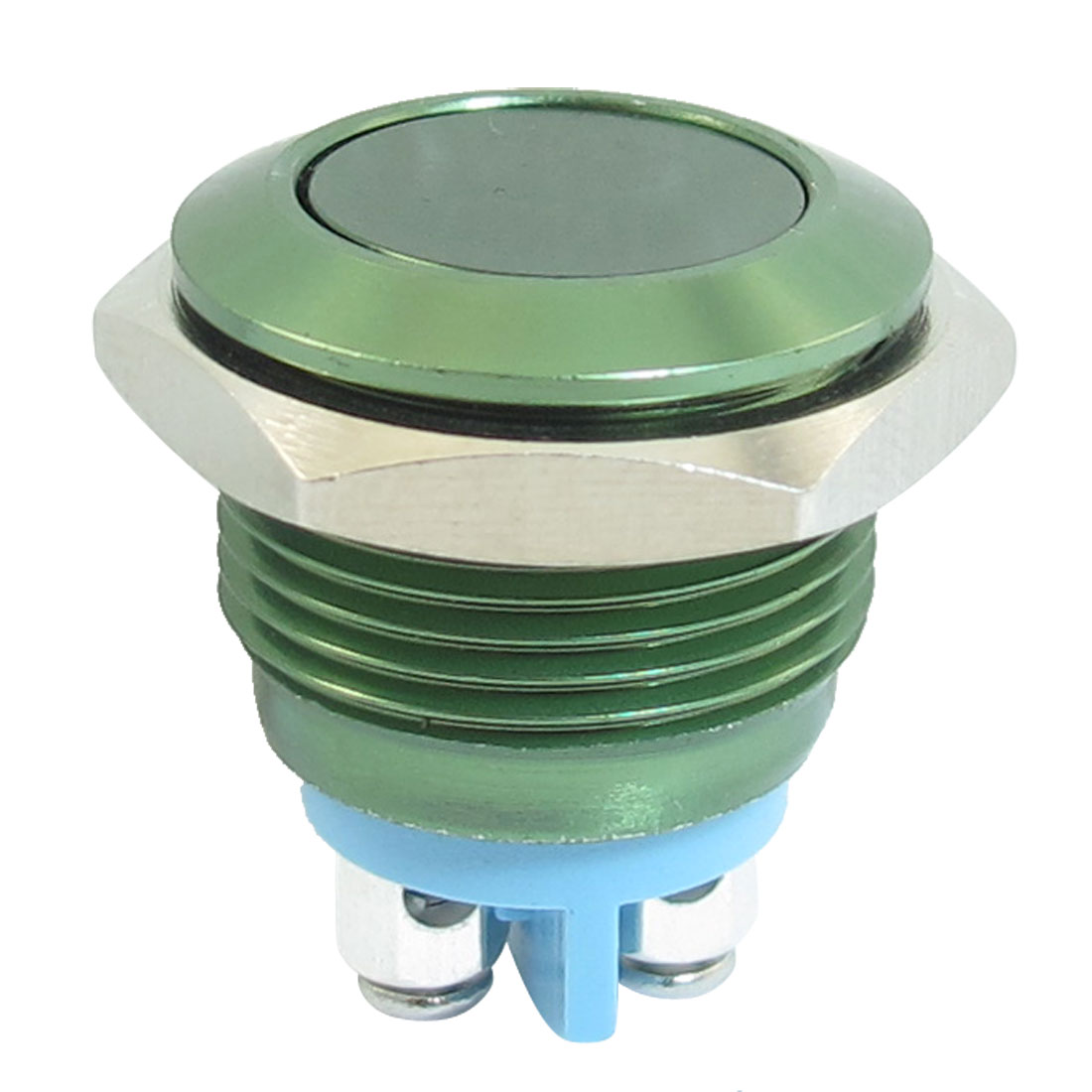 16mm Flush Mounted Momentary SPST Green Stainless Steel Round Push Button Switch