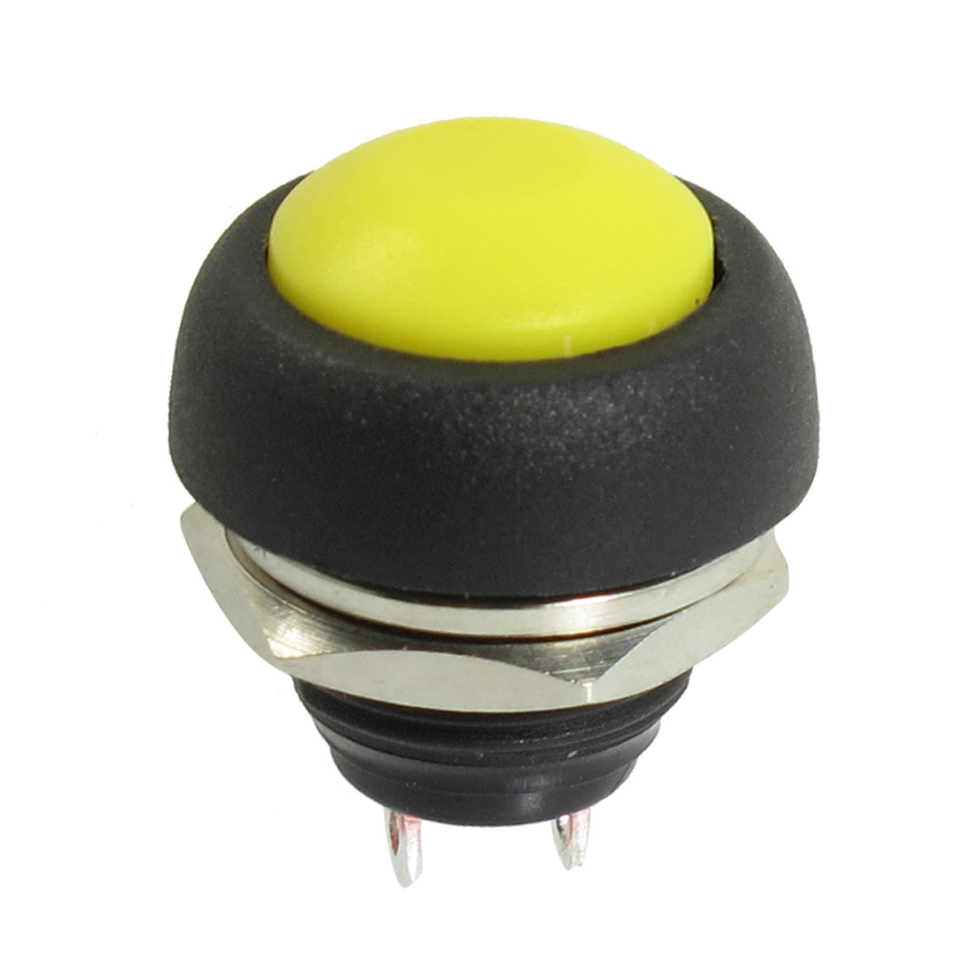 2 Terminals 12mm Threaded SPST Momentary Yellow Pushbutton Switch 250VAC 3A