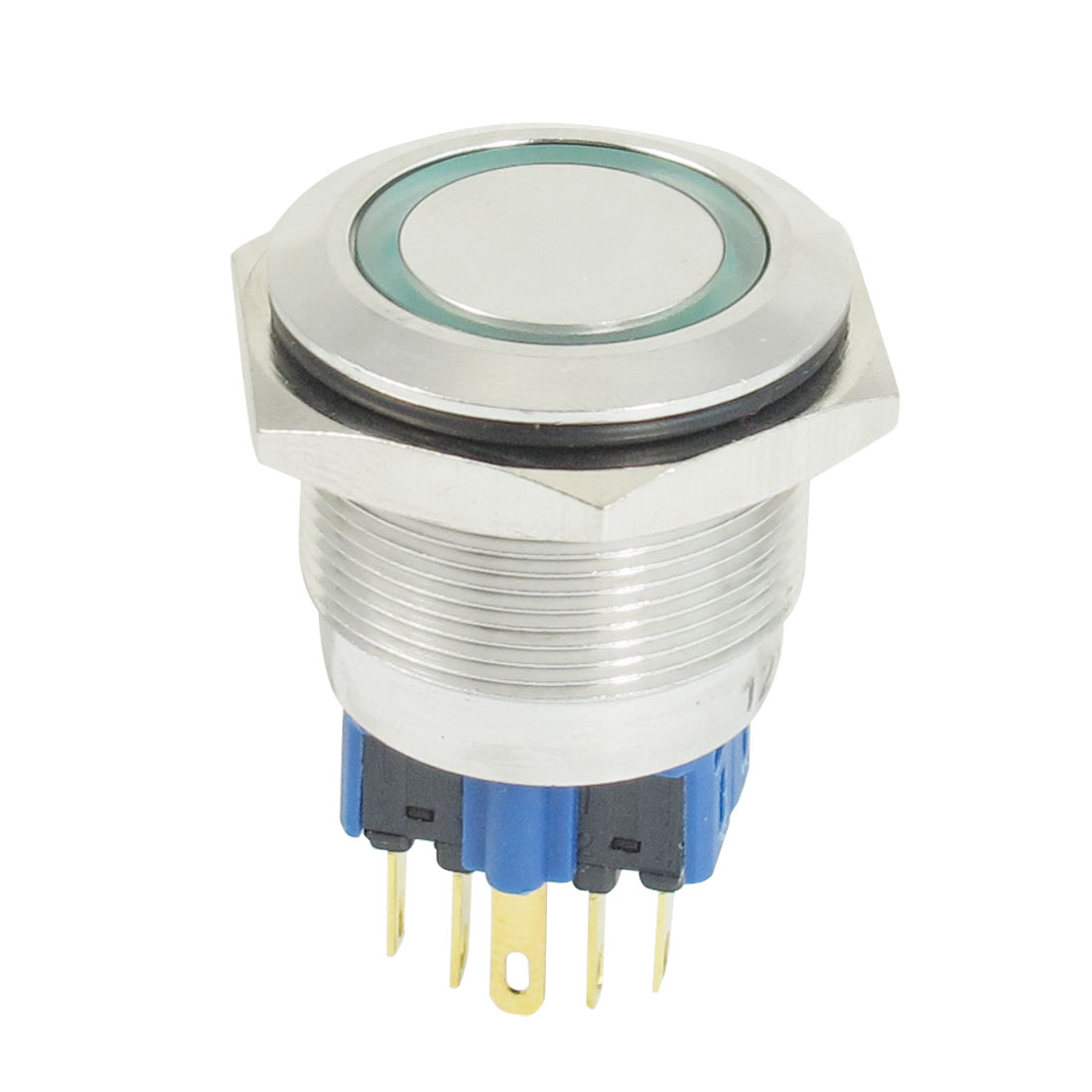 25mm 12VDC Green Ring LED Light Stainless Latching Push Button Switch 1NO 1NC
