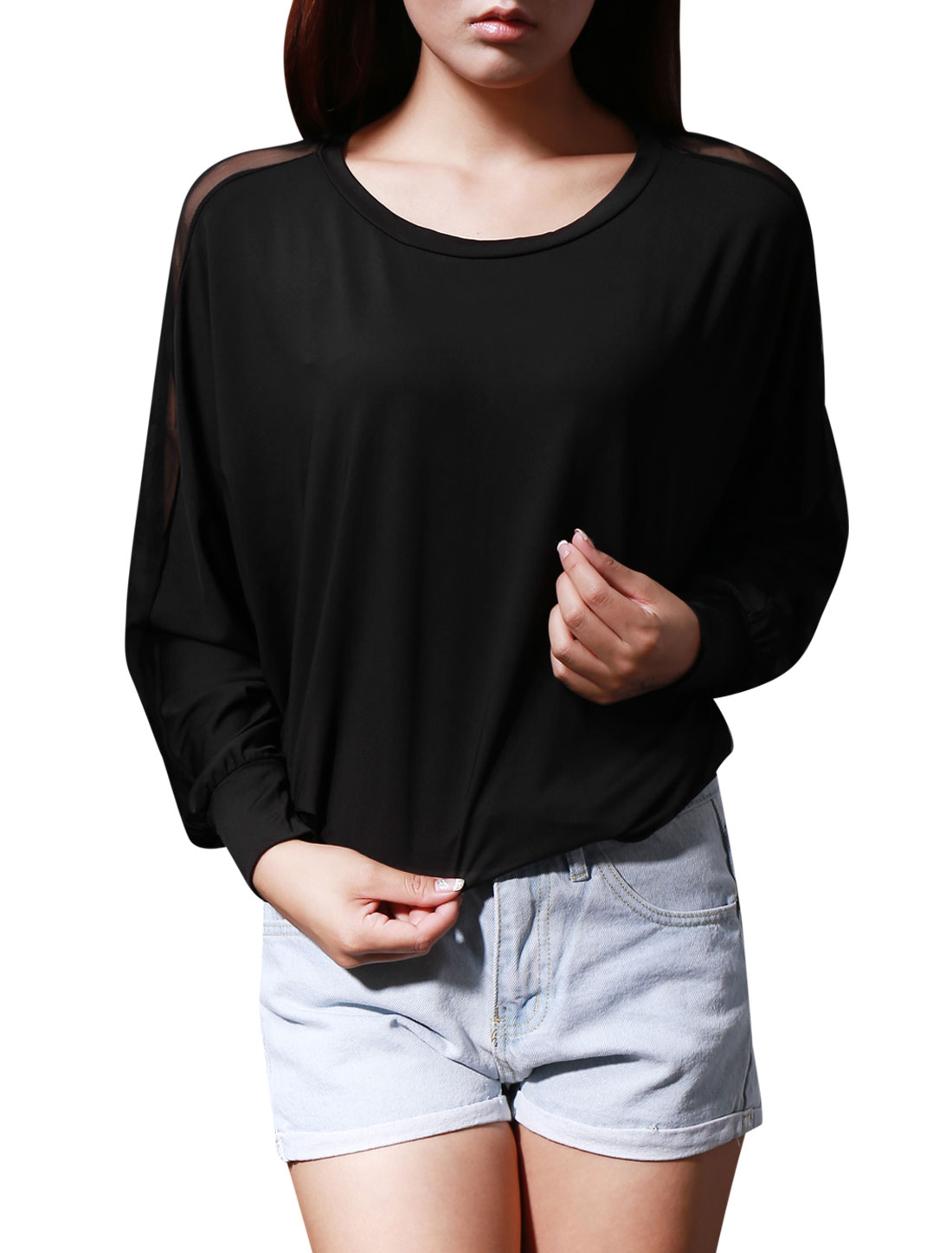 288 M Woman Mesh Patch Long Sleeve Round Neck Shirt Top Black
