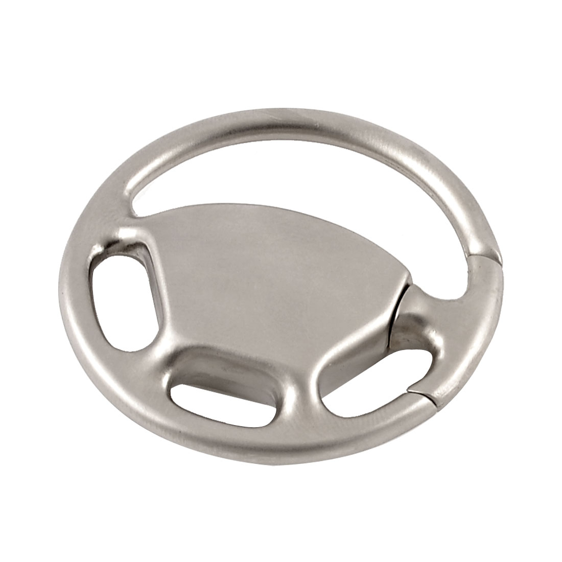 Alloy Steering Wheel Mini Keyring Keychain Decoration Silver Tone 42mm Dia