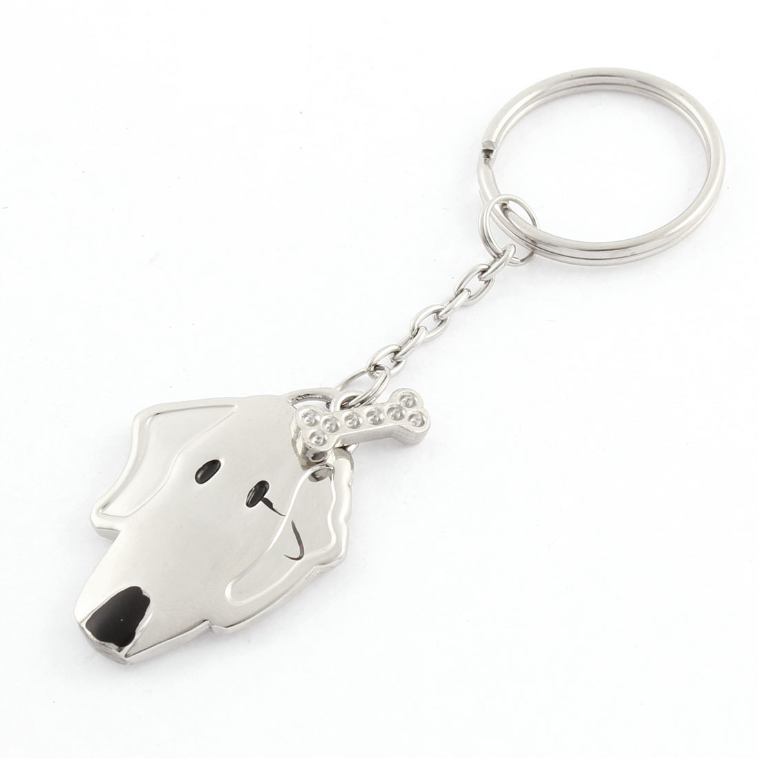 Silver Tone Metal Split Ring Dog Head Bone Pendant Keychain Keyring Key Fobs