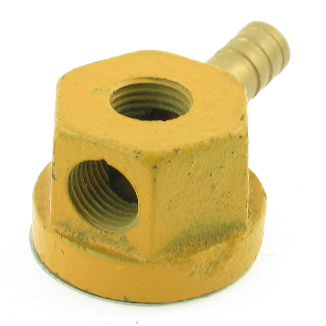 Yellow Double Outlet 12mm Thread Coolant Magnetic Base Pipe Holder