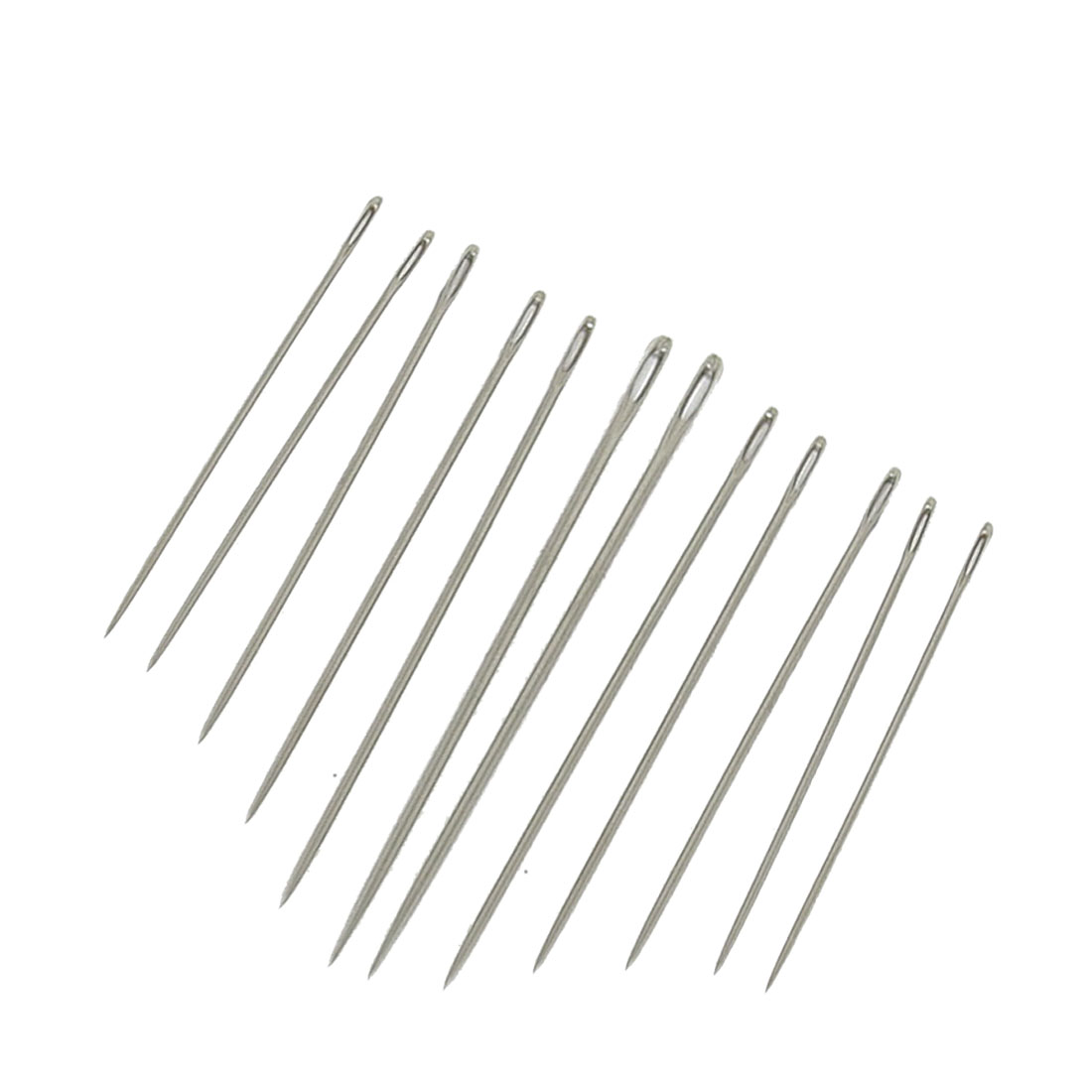 12 Pcs Silver Tone Pointed Tip Stitching Sewing Needles Set