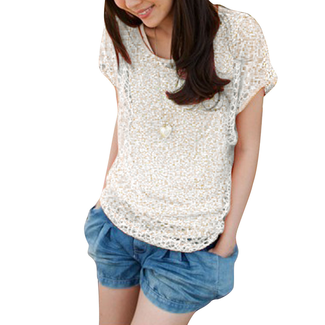 Women Pullover Sleeveless Crochet Lace Decor Tank Top & Short Sleeve Hollow Out Smock White XS