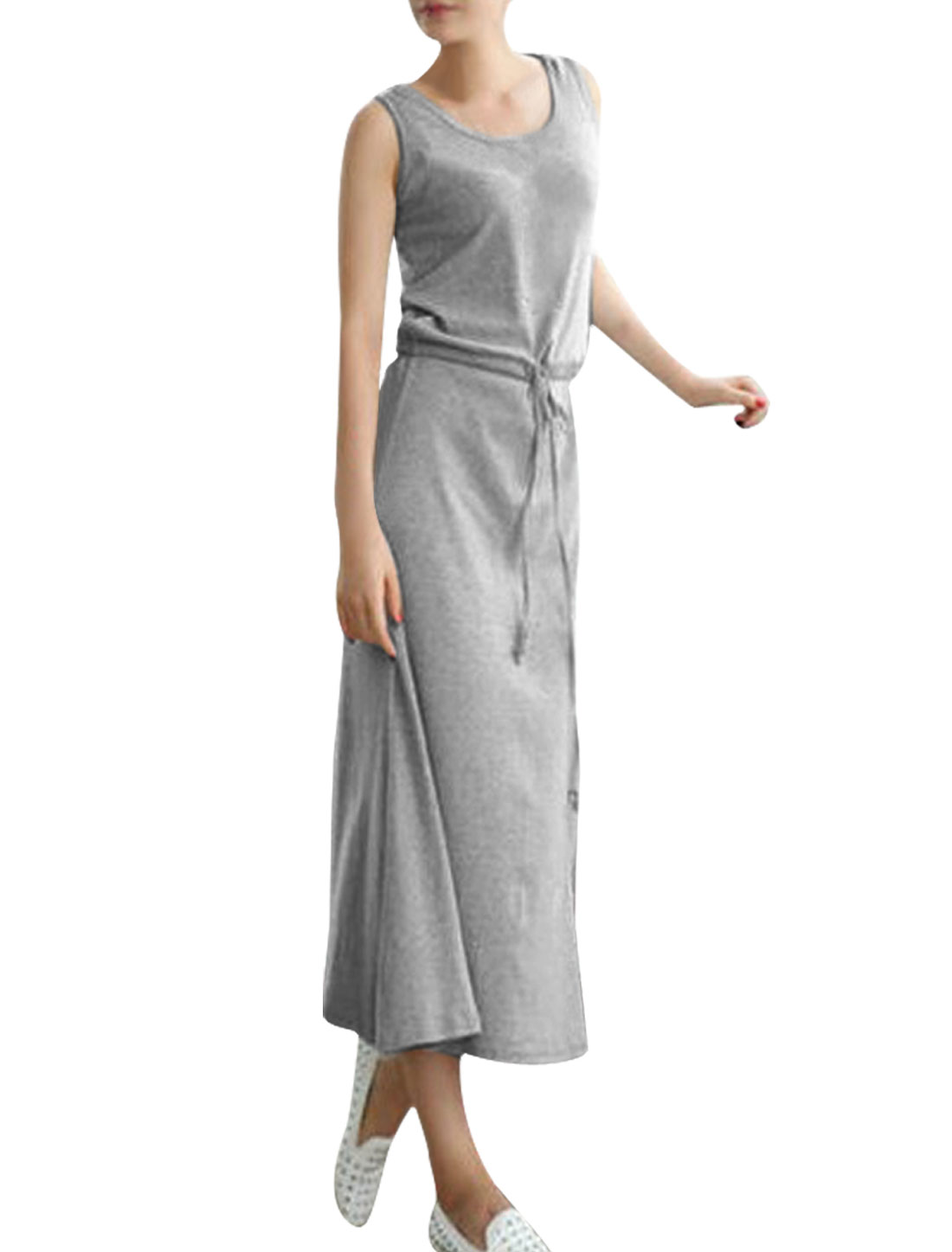 Ladies Round Neck Hooded Drawstring Mid-Calf Length Light Gray Dress XS