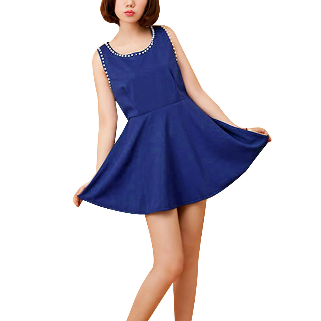 Women Chiffon Sleeveless Above Knee A Line Elegant Dress Royal Blue XS
