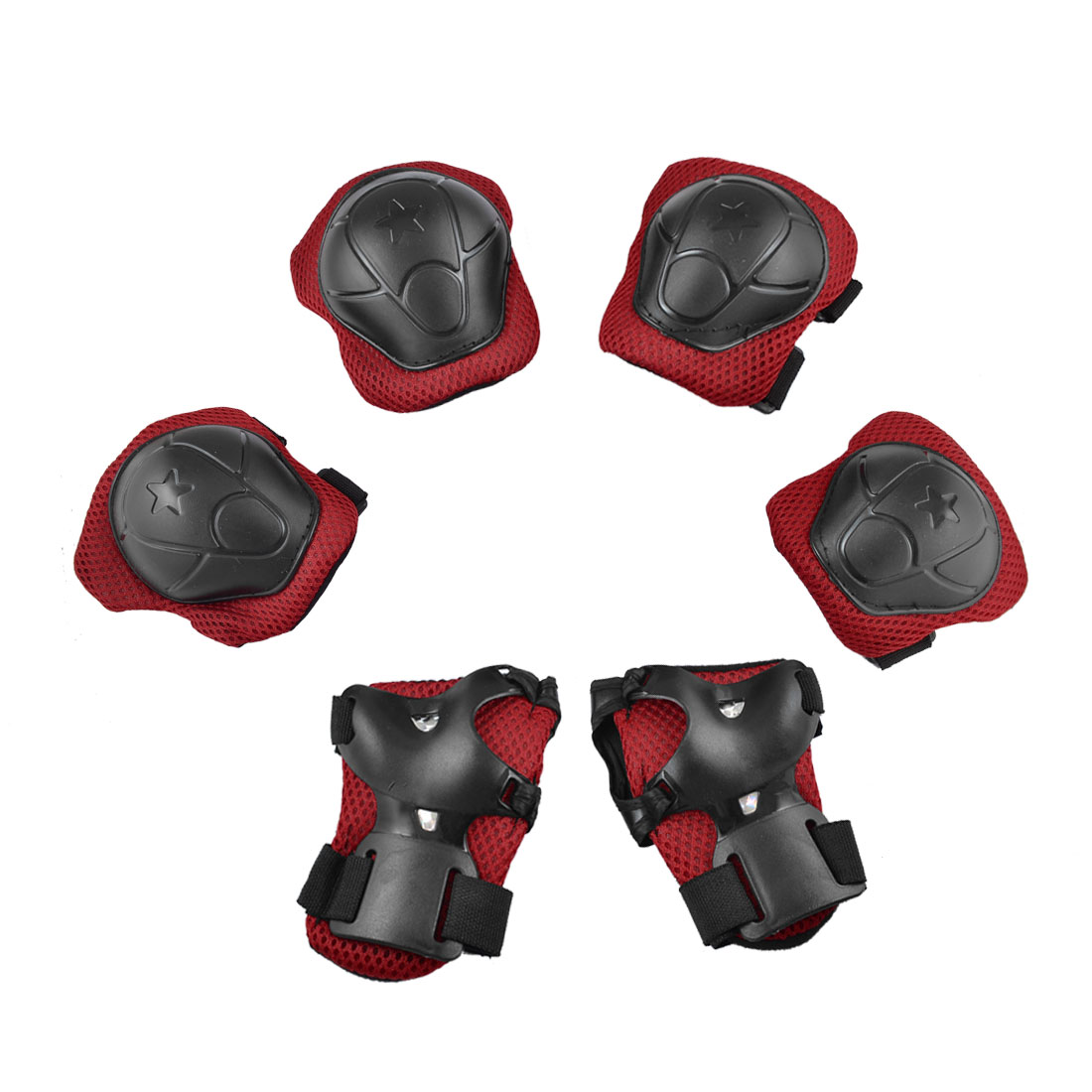Wrist Palm Elbow Knee Support Brace Protective Gear Pad Red Black 6 in 1 Set