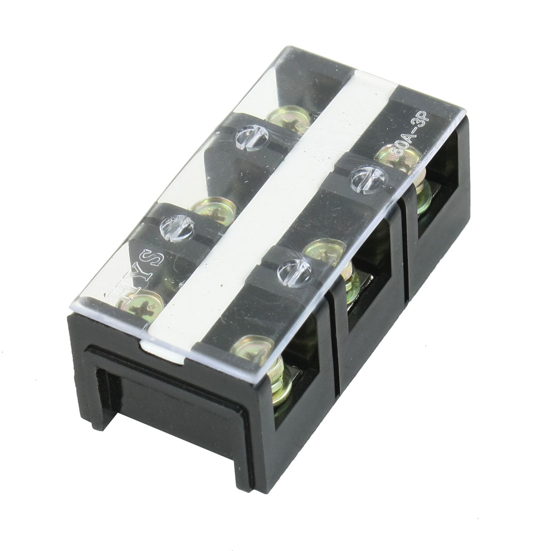 600V 60A Dual Row 3 Position 3P Barrier Screw Terminal Block