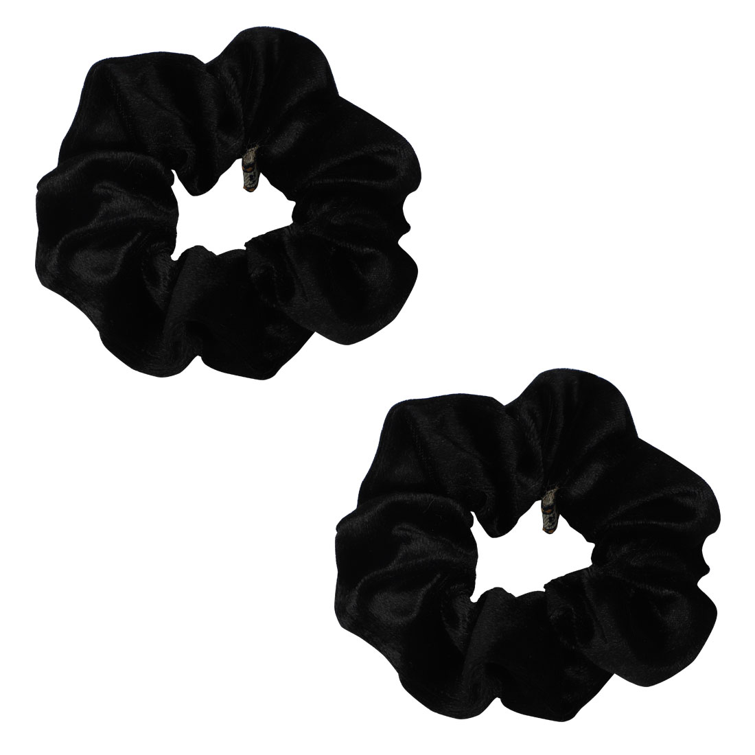 Woman Lady Black Velvet Elastic Band Ponytail Holder 2 Pcs