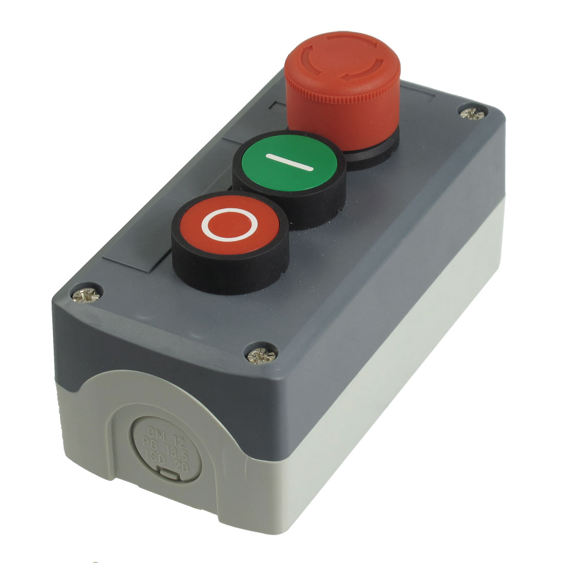 240V 3A SPST NC Emergency Stop Momentary Green Red Flat Push Button Station Box