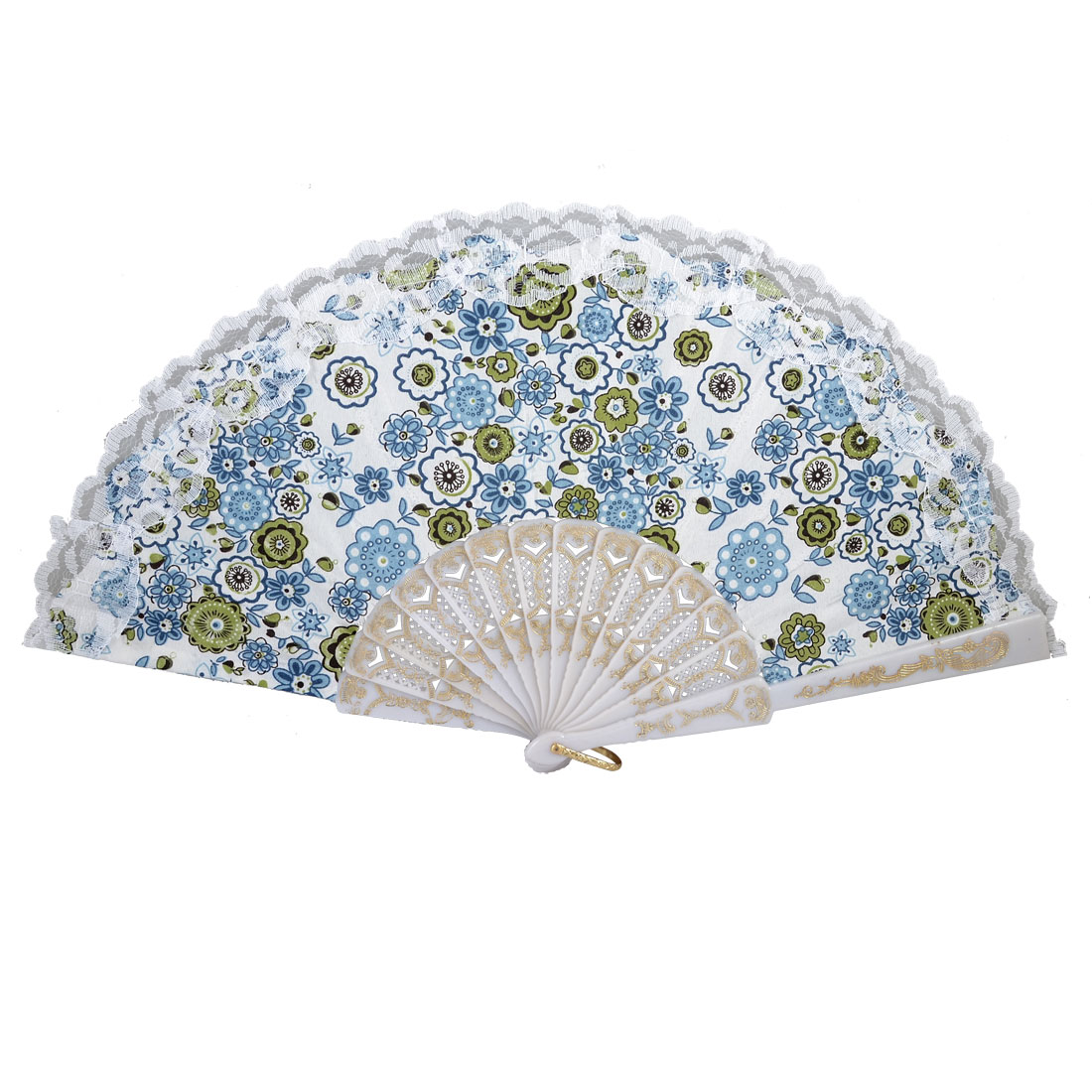 Teal Blue Green Flower Prints Lace Trim Plastic Frame White Folding Hand Fan