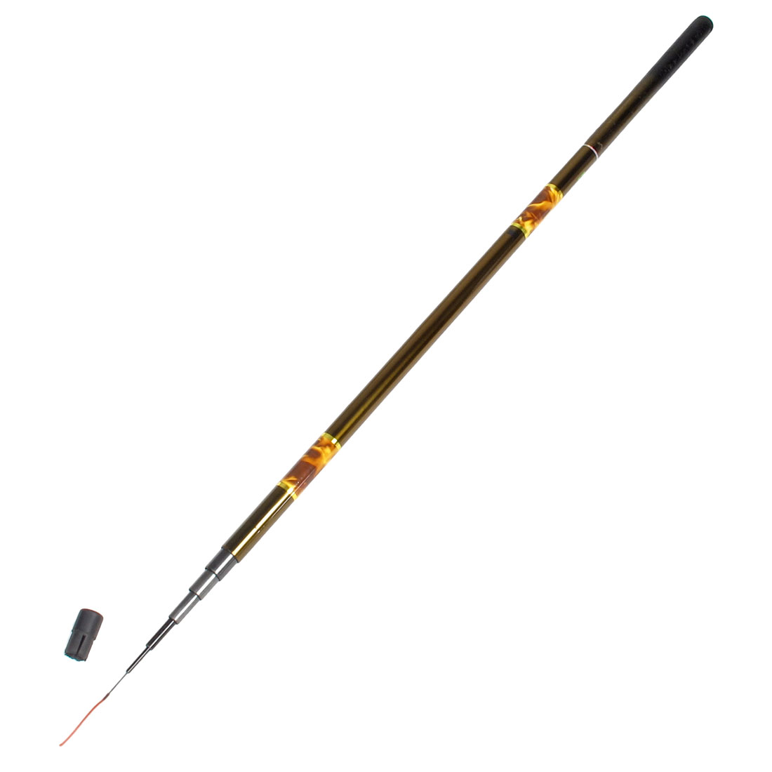 Gold Tone Black 3.2M 7 Sections Freshwater Telescopic Fishing Pole