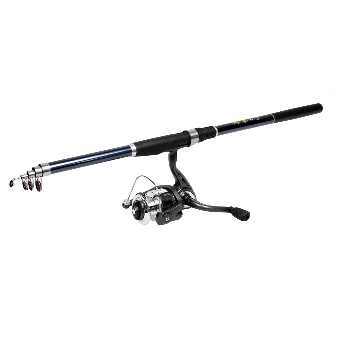 2.4M Plastic Handle 5 Sections Telescopic Fishing Rod Pole w Spinning Reel