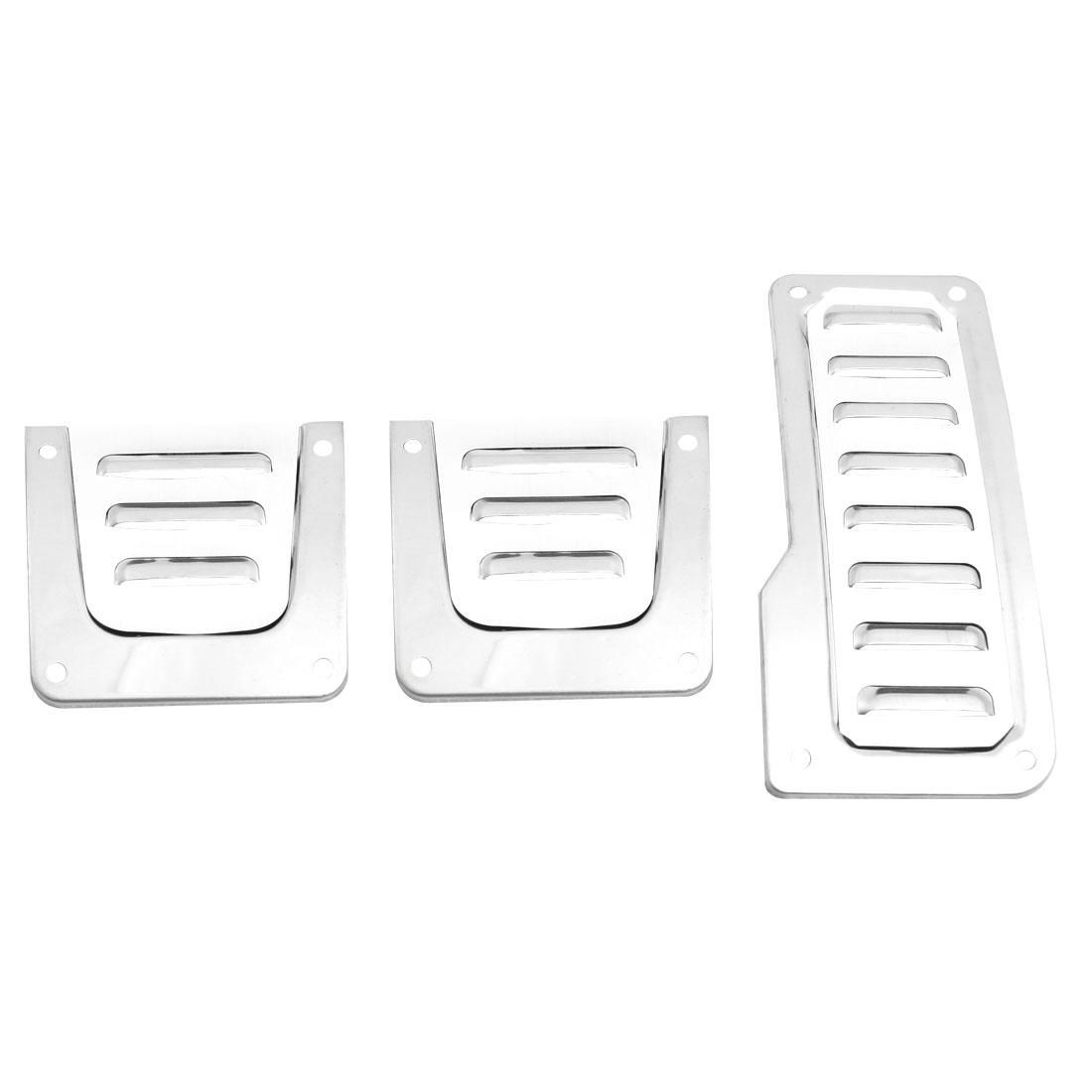 Vehicles Car Silver Tone Nonslip Metal Gas Clutch Brake Pedal Covers 3PCS