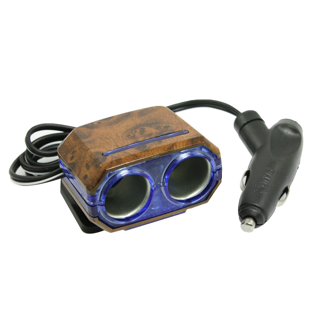 DC 12V 2 Way Socket Car Cigarette Lighter Charger Adapter Wood Pattern