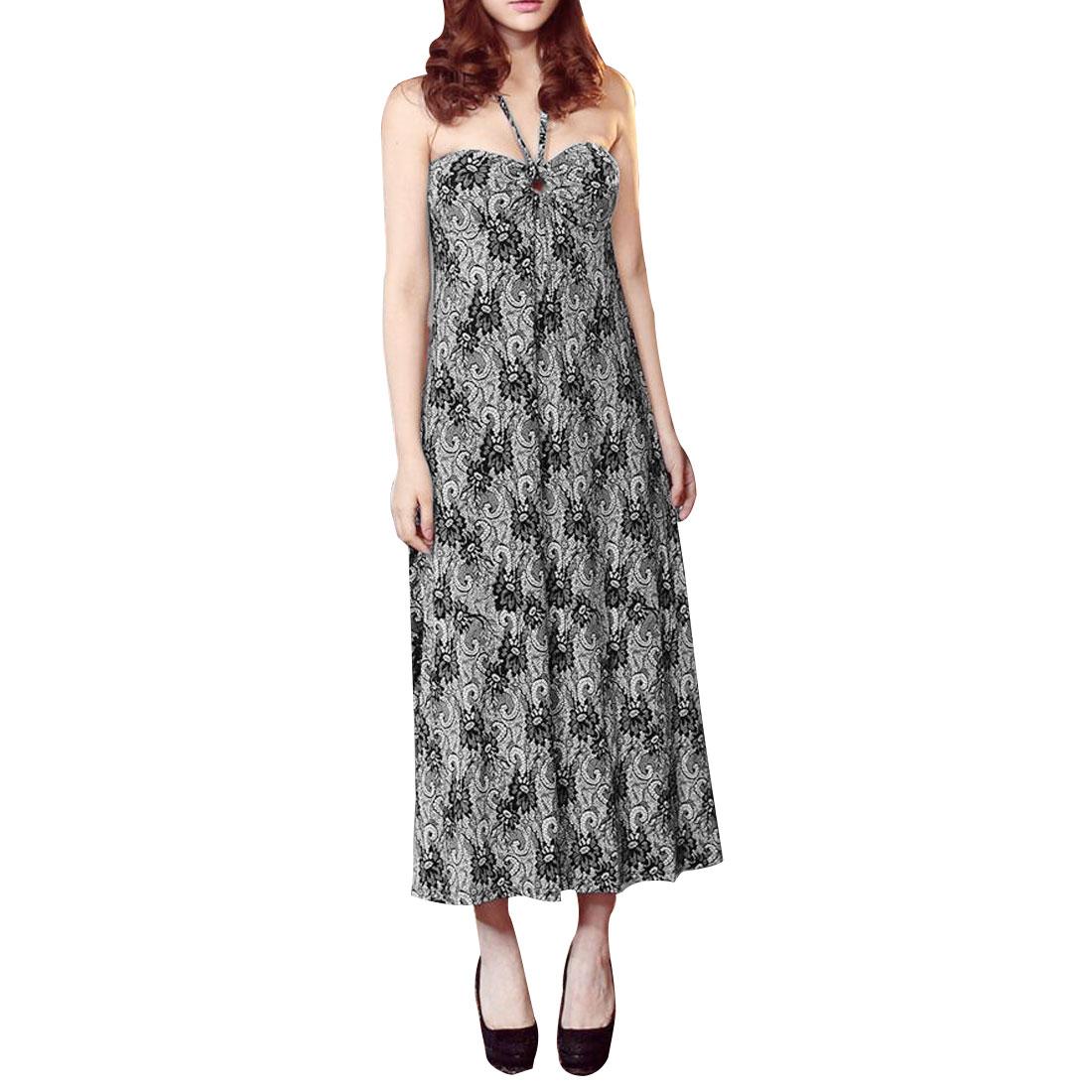Ladies Sleeveless Black White Flowers Pattern Self Tie Halter Dress XS