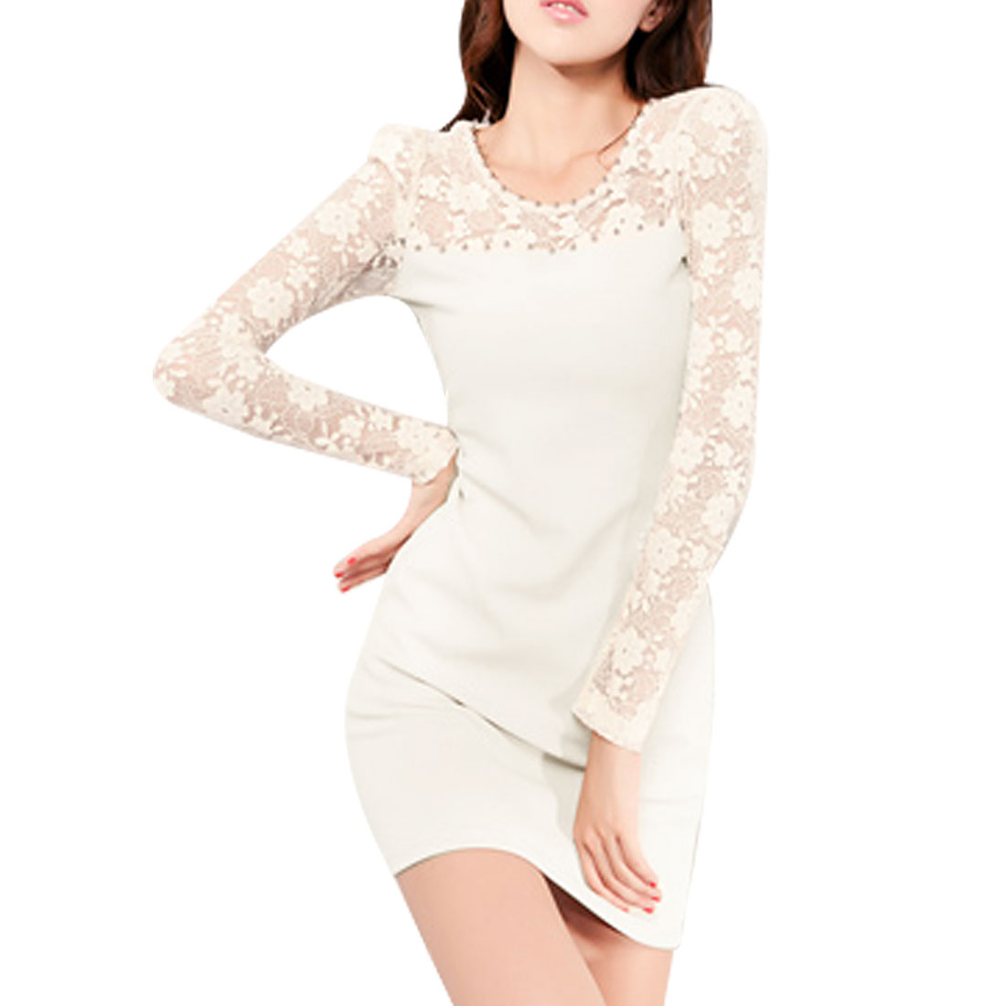 Women Pullover Laced Flowers Print Long Sleeves Mini Dress White XS