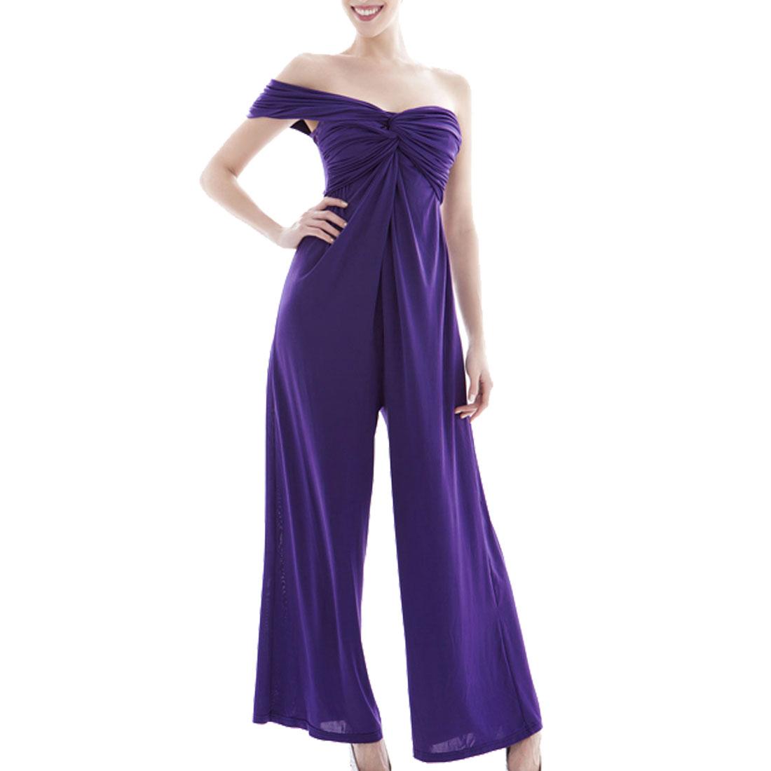 XS Woman Single Shoulder Knot Bust Wide Leg Jumpsuit Purple