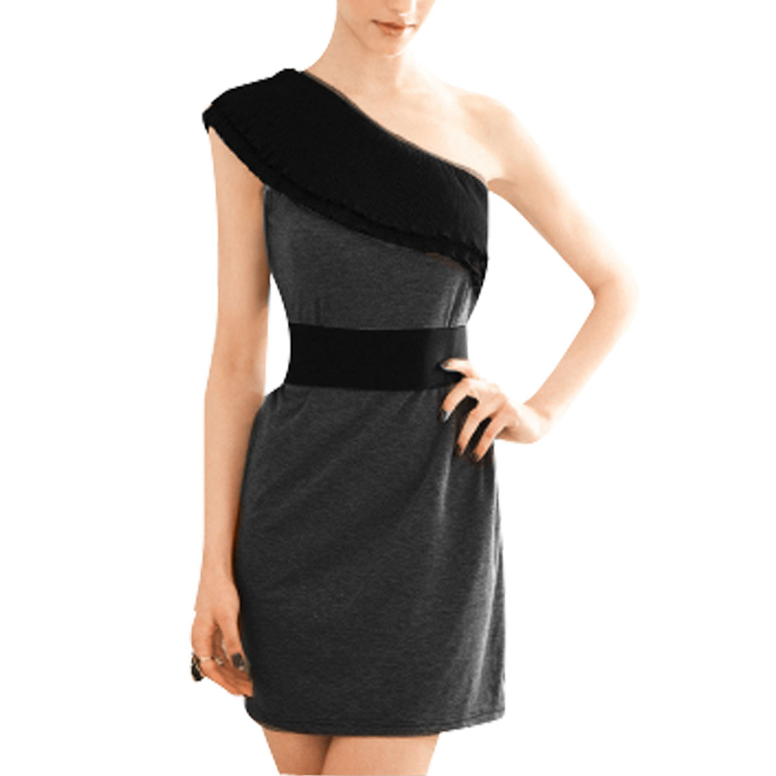 Elegant Sleeveless Off Shoulder Mini Dress Black Gray XS for Women