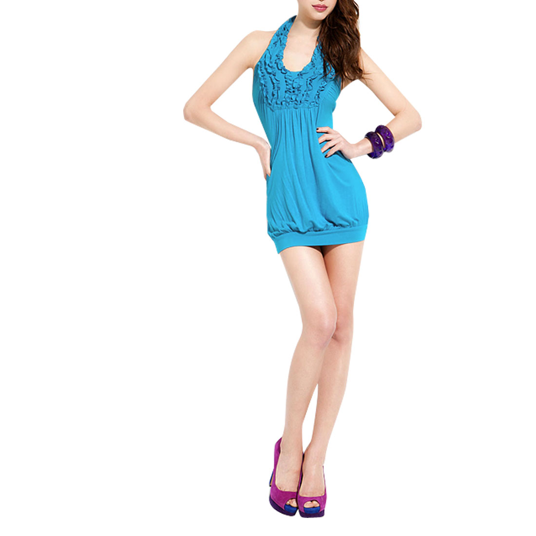 Women Sexy Sleeves Above Knee Wrap Mini Halter Dress Blue XS