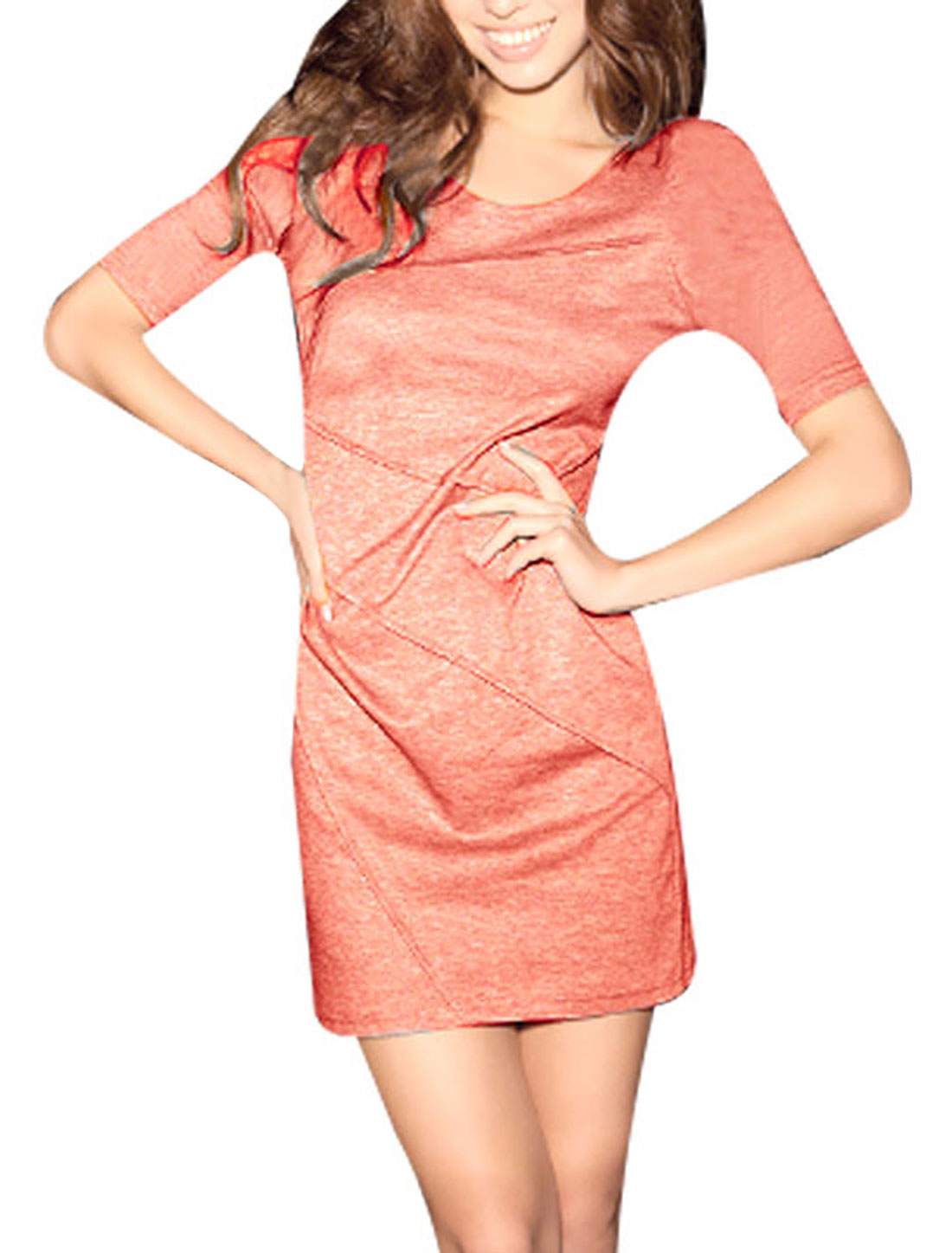 XS Ladies Scoop Neck Half Sleeve Zipper Back Sheath Dress Salmon Pink