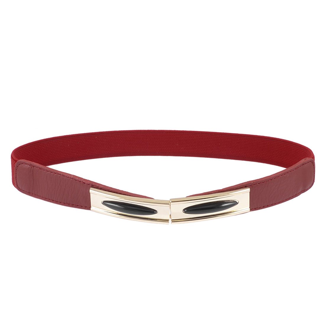 Women Rectangle Interlocking Closure Textured Band Cinch Skinny Belt Burgundy