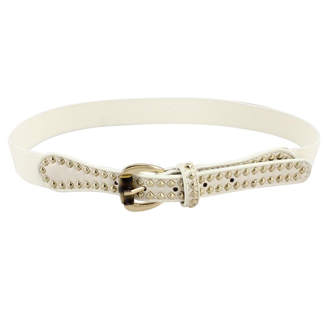 Women Metal Studs Decor Stretchy Band Waistbelt Cinch Belt White