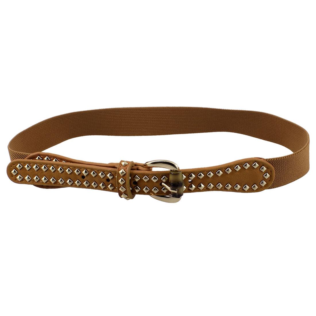 Women Metal Studs Decor Stretchy Band Waistbelt Cinch Belt Brown