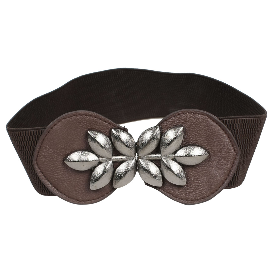 Ladies Leaf Detail Coffee Color Faux Leather Elastic Waistband Belt Cinch