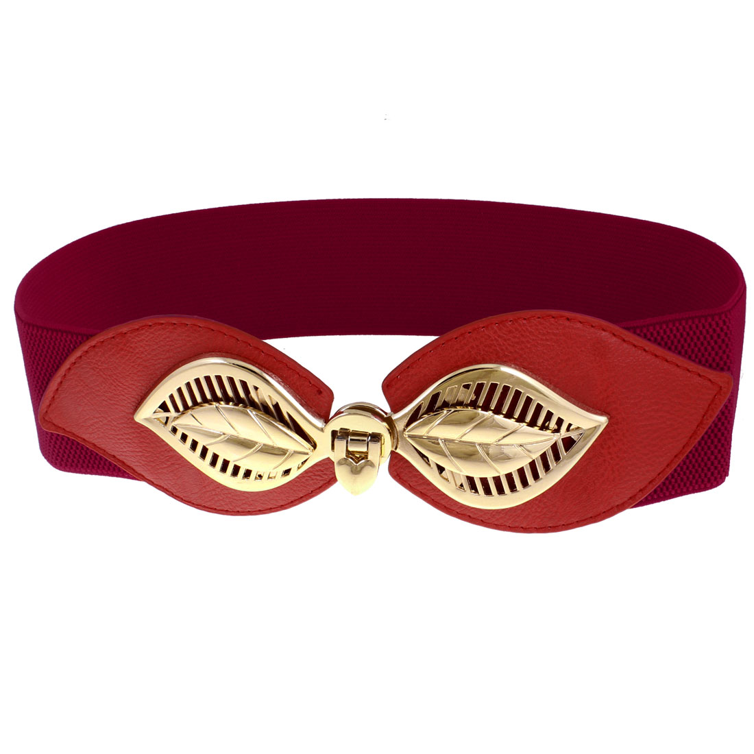 Lady Gold Tone Leaf Buckle Red Elastic Waist Corset Cinch Belt