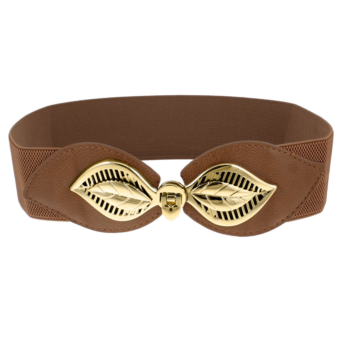 Woman Gold Tone Flip Lock Buckle Elastic Cinch Belt Band Brown