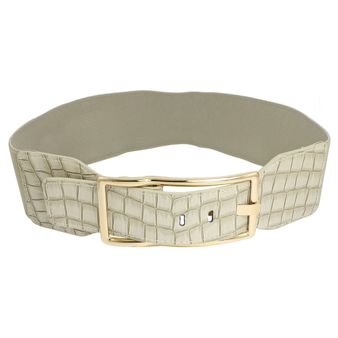 Beige Faux Leather Crocodile Pattern One Pin Stretchy Waist Belt for Lady
