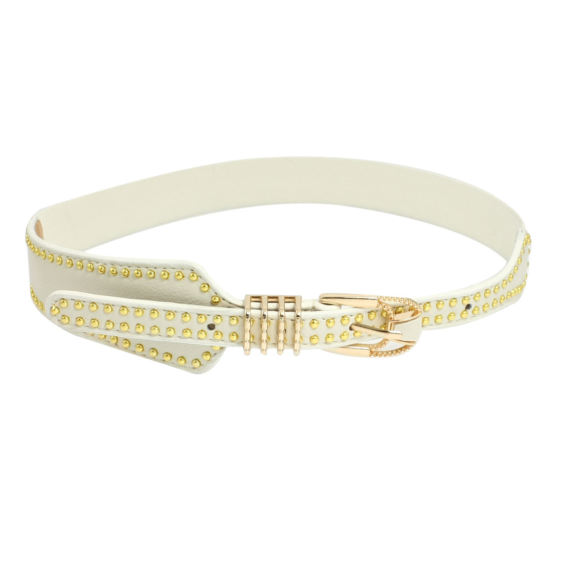Lady Single Pin Buckle Metal Round Bead Decor Elastic Waist Belt Band White