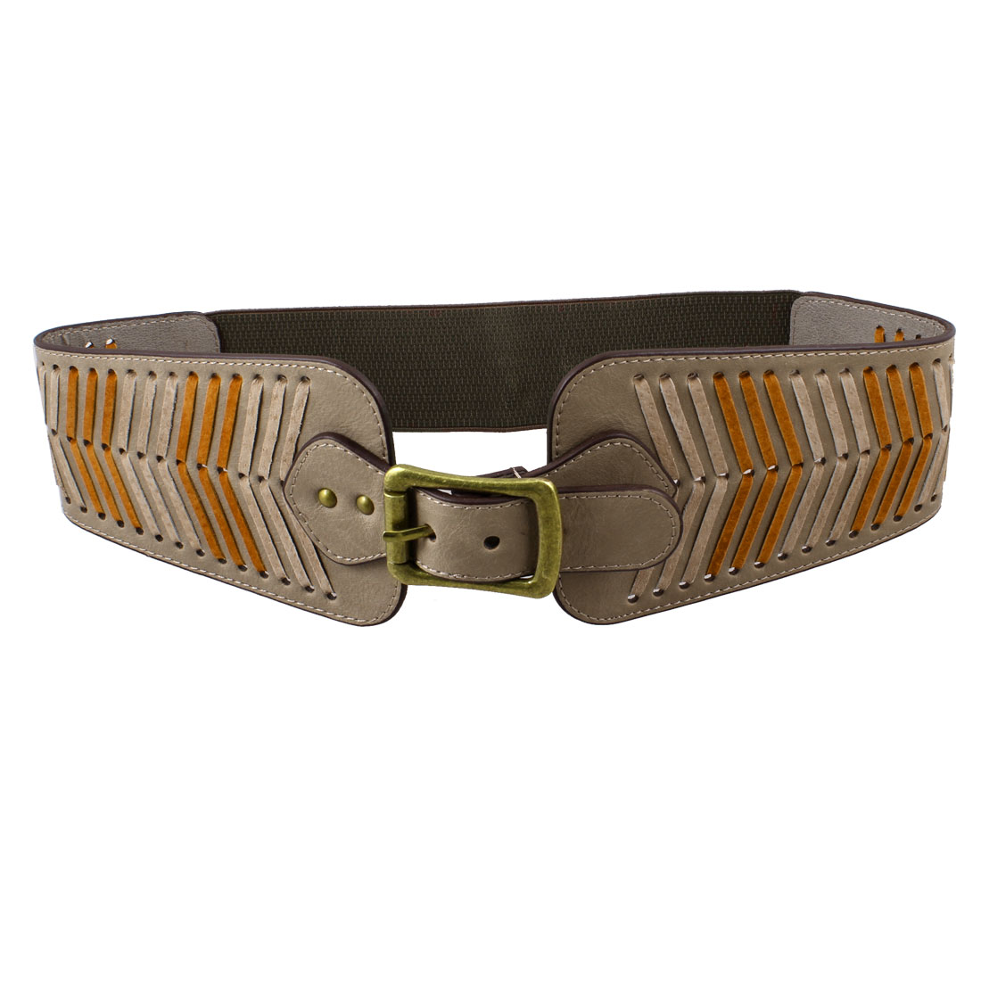 Lady Metal Single Pin Buckle Stretchy Band Waistbelt Cinch Belt Khaki
