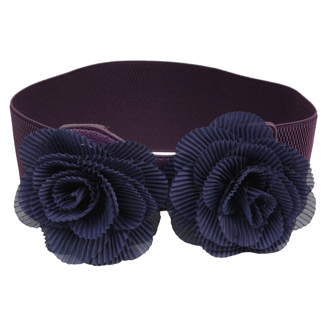 Double Chiffon Flowers Blue Purple Elastic Waist Belt Band Cinch for Lady