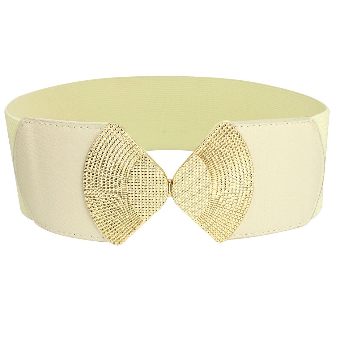 Woman Beige Double Fan Shape Metal Buckle Textured Stretch Cinch Belt