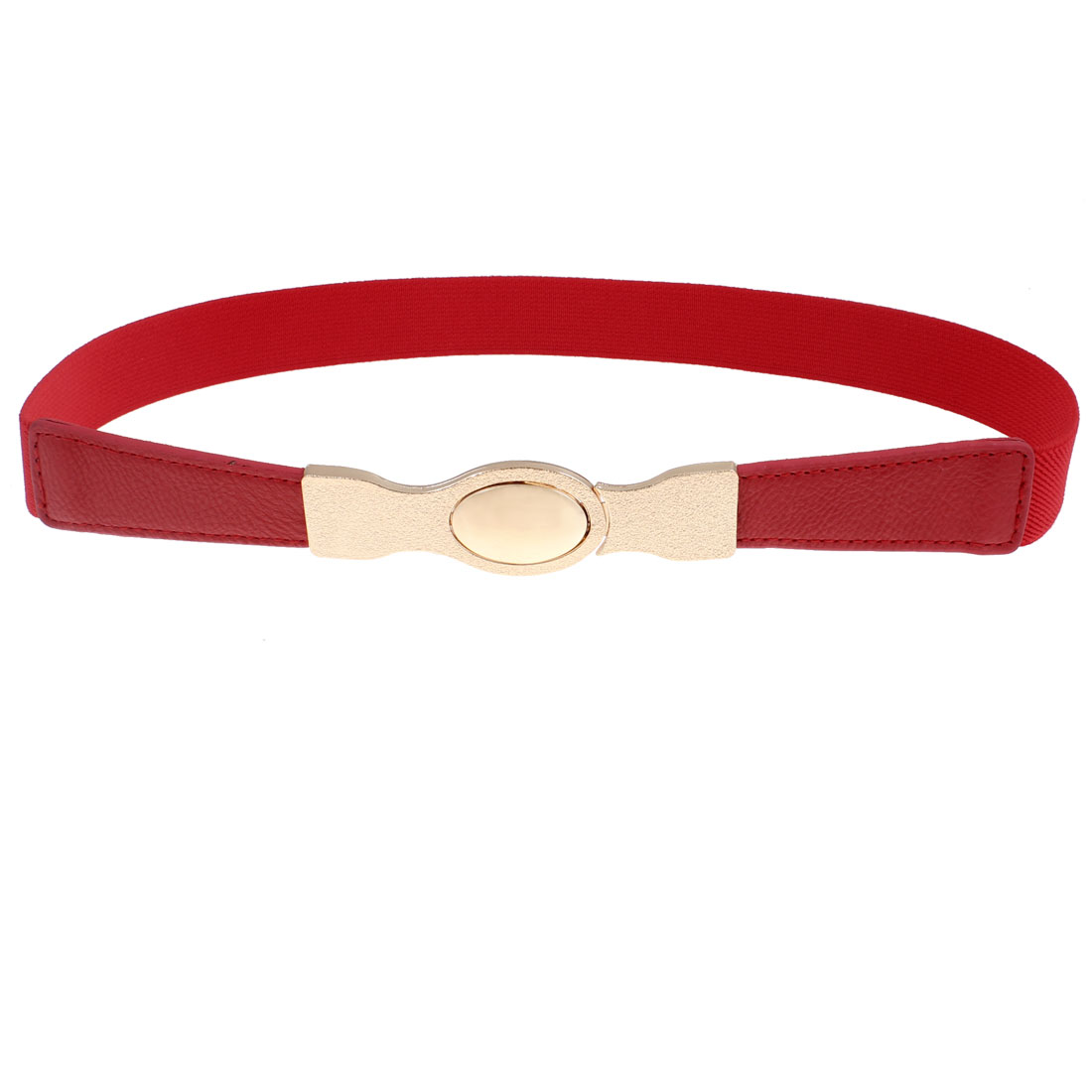 Women Oval Interlock Buckle Elastic Red Waistband Cinch Belt
