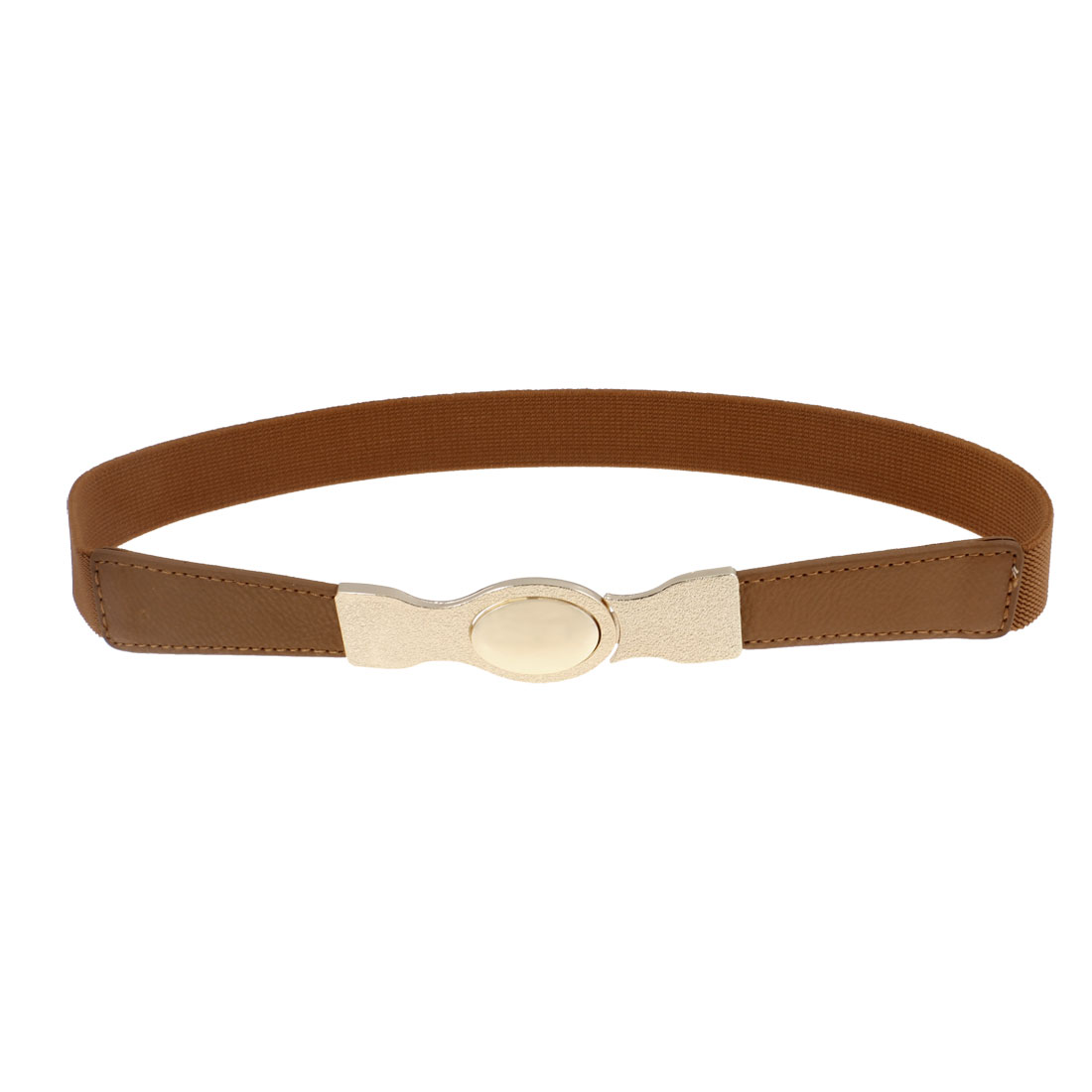 Woman Gold Tone Oval Interlock Buckle Stretchy Belt Band Brown