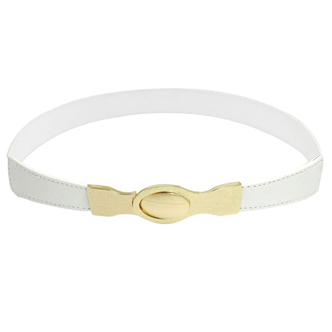 Woman Gold Tone Buckle White Elastic Slim Cinch Waistband Belt
