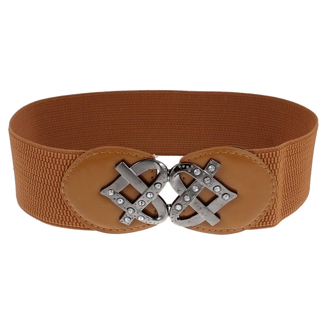 Woman Rhinestone Inlaid Heart Buckle Brown Elastic Cinch Belt